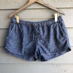 J. Crew Cotton Denim Blue Drawstring Shorts M